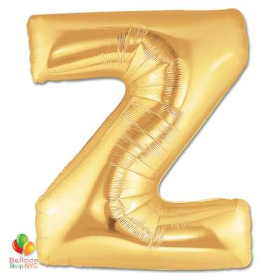 Jumbo Letter Z Foil Balloon Gold 40 inch Inflated delivery from Balloon Shop NYC