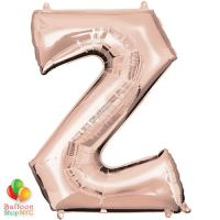 Jumbo Letter Z Foil Balloon Rose Gold 35 inch Inflated delivery from Balloon Shop NYC