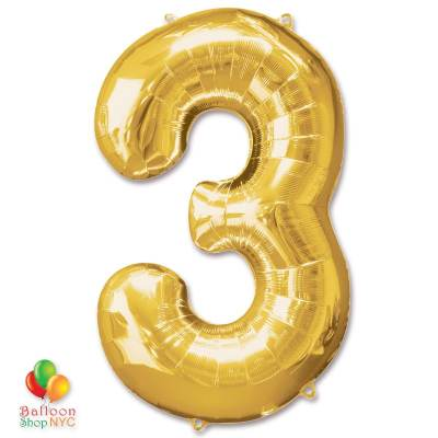 Jumbo Number 3 Foil Balloon Gold 40 inch Inflated delivery from Balloon Shop NYC