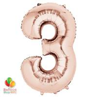 Jumbo Number 3 Foil Balloon Rose Gold 35 inch Inflated Delivery From Balloon Shop NYC