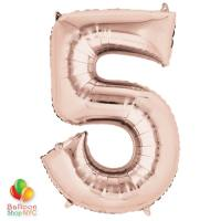 Jumbo Number 5 Foil Balloon Rose Gold 35 inch Inflated Delivery From Balloon Shop NYC