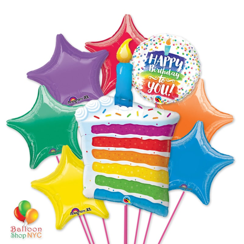 Happy Birthday Rainbow Cake Candle Stars Balloons Bouquet Delivery Balloon Shop NYC