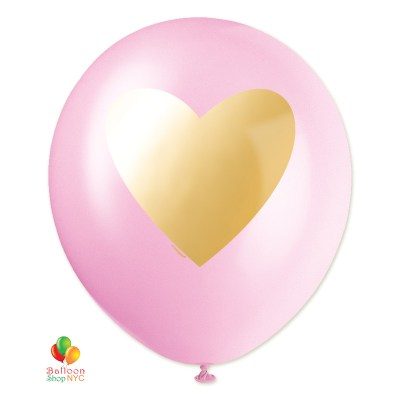 Gold Heart Pink Latex Balloon 12 Inch Helium Inflated delivery from Balloon Shop NYC