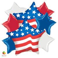 Classic American Patriotic Mylar Balloon Bouquet delivery from Balloon Shop NYC