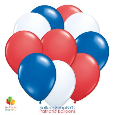 Patriotic Red Blue White Latex Balloon Bouquet 12 inch Inflated cheap balloons NYC delivery