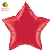 Red Star Mylar Balloon Rainbow Collection 18 inch Inflated delivery Balloon Shop NYC