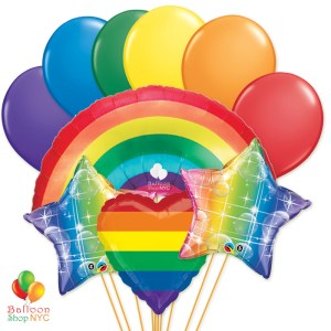 Ultimate Rainbow Heart Stars Party Balloon Bouquet delivery Balloon Shop NYC