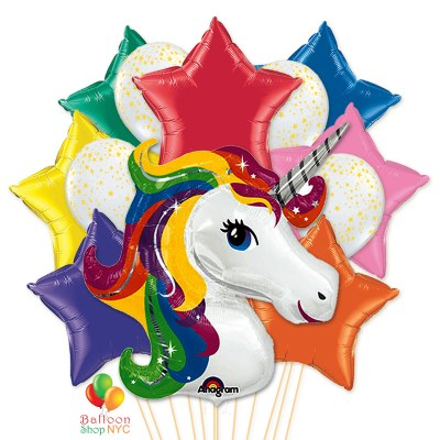Rainbow Unicorn Stars Party Balloon Bouquet delivery Balloon Shop NYC