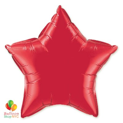 Ruby Red Star Patriotic Mylar Balloon 19 inch Inflated delivery from Balloon Shop NYC