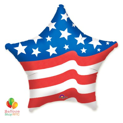 American Flag Jumbo Star Patriotic Mylar Balloon 36 Inch delivery from Balloon Shop NYC