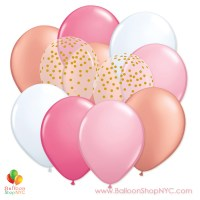 Ultimate Pink Gold 11 inch Latex Party Balloons Bouquet delivery Balloon Shop NYC