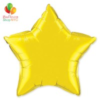 Yellow Star Mylar Balloon Rainbow Collection 20 inch Inflated delivery Balloon Shop NYC