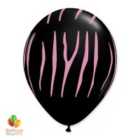Zebra Stripes Black Pink Print Latex Party Balloon 12 inch Inflated Balloon Shop NYC