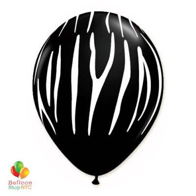 Zebra Stripes Black White Print Latex Party Balloon 12 inch Inflated delivery Balloon Shop NYC