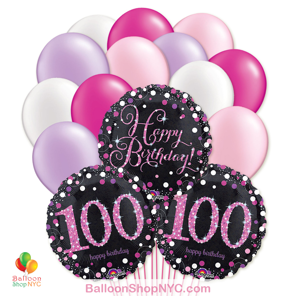 100th Pretty Pink Happy Birthday Mylar Latex Pearl Balloon Bouquet Inflated High Quality Cheap Balloons