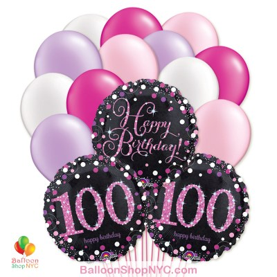 100th Pretty Pink Happy Birthday Mylar Latex Pearl Balloon Bouquet Inflated high-quality cheap balloons nyc delivery