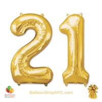 21st Birthday Jumbo Number Foil Balloons Set Gold 40 inch Inflated high-quality cheap balloons nyc delivery