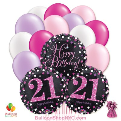 21st Pretty Pink Happy Birthday Mylar Latex Pearl Balloon Bouquet Inflated high-quality cheap balloons nyc delivery