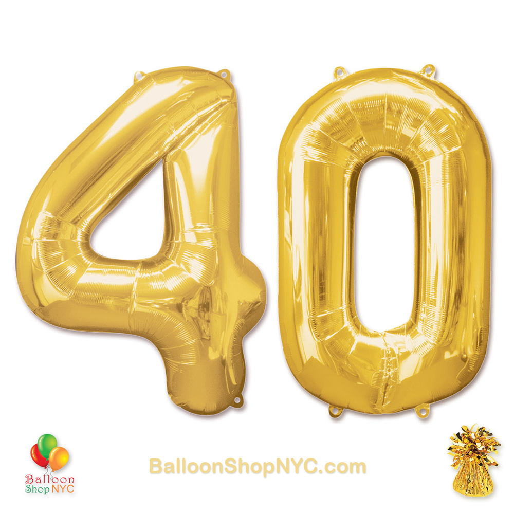 40th Birthday Jumbo Number Foil Balloons Set Gold 40 Inch Inflated High Quality Cheap
