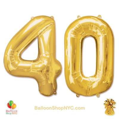 40th Birthday Jumbo Number Foil Balloons Set Gold 40 inch Inflated high-quality cheap balloons nyc delivery