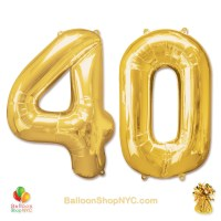 40th Birthday Jumbo Number Foil Balloons Set Gold 40 Inch Inflated