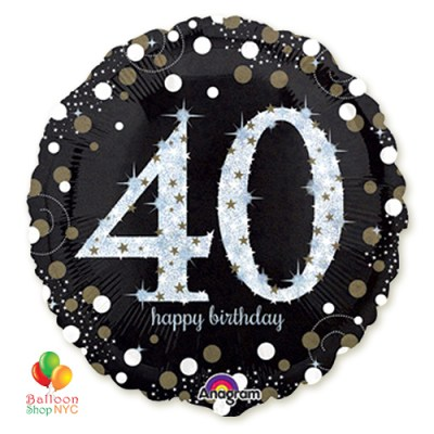 40th Sparkling Happy Birthday Mylar Balloon 18 Inch Inflated high-quality cheap balloons nyc delivery
