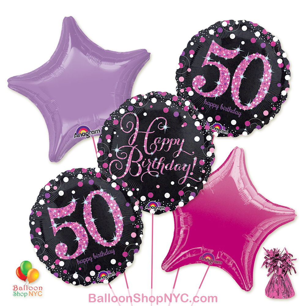 50th Pretty Pink Happy Birthday Mylar Stars Balloon Bouquet Inflated High Quality Cheap Balloons Nyc