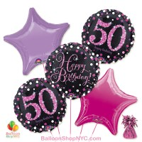 50th Pretty Pink Happy Birthday Mylar Stars Balloon Bouquet Inflated high-quality cheap balloons nyc delivery