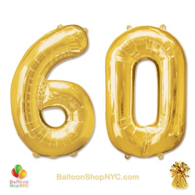 60th Birthday Jumbo Number Foil Balloons Set Gold 40 inch Inflated high-quality cheap balloons nyc delivery