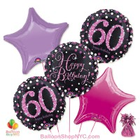 60th Pretty Pink Happy Birthday Mylar Stars Balloon Bouquet Inflated high-quality cheap balloons nyc delivery