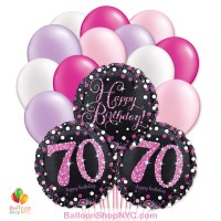 70th Pretty Pink Happy Birthday Mylar Latex Pearl Balloon Bouquet Inflated high-quality cheap balloons nyc delivery