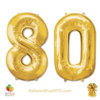 80th Birthday Jumbo Number Foil Balloons Set Gold 40 inch Inflated high-quality cheap balloons nyc deliveryBalloons Gold 40 inch Inflated