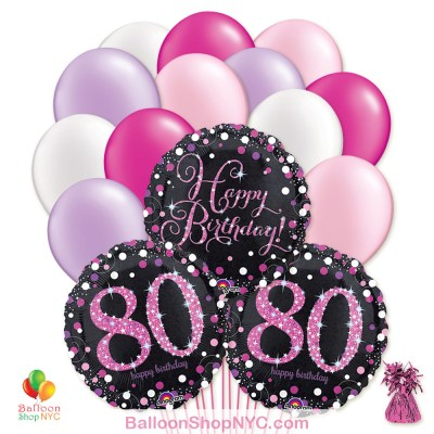 80th Pretty Pink Happy Birthday Mylar Latex Pearl Balloon Bouquet high-quality cheap balloons nyc delivery