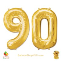 90th Birthday Jumbo Number Foil Balloons Set Gold 40 inch Inflated high-quality cheap balloons nyc deliveryBalloons Gold 40 inch Inflated