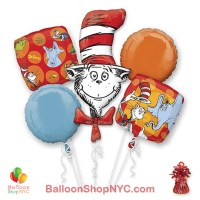 Dr Seuss Fun Mylar Balloon Bouquet Inflated & Weight high-quality cheap balloons nyc delivery