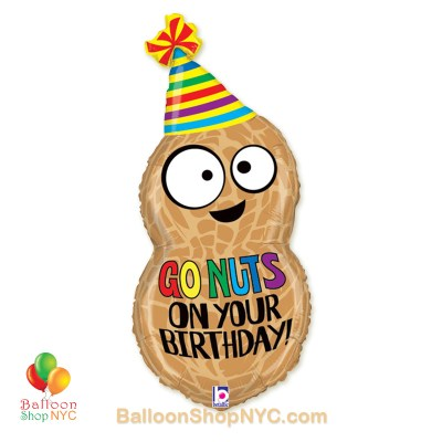Go Nuts on Your Birthday JumboPeanut Fun Mylar Balloon 32-Inch Inflated high-quality cheap balloons nyc delivery