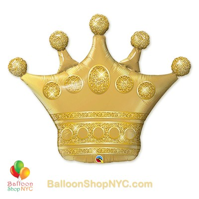 Golden Crown Foil Birthday Jumbo Balloon 41 Inch Inflated high-quality cheap balloons nyc delivery