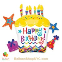 Happy Birthday Cupcake Jumbo Fun Mylar Balloon 28 Inch Inflated High-quality cheap balloons nyc delivery