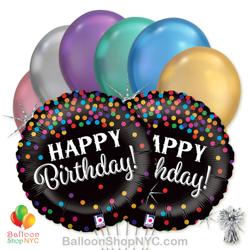 Happy Birthday Holographic Confetti Mylar Balloon Bouquet High Quality Cheap Balloons Nyc Delivery