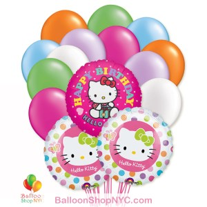 Hello Kitty Happy Birthday Mylar Latex Balloon Bouquet Inflated