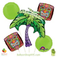 Kiwi Tiki Time Mylar Helium Inflated Balloon Bouquet high-quality cheap balloons nyc delivery