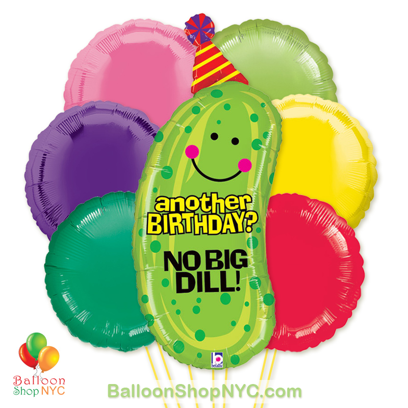 No Big Dill Jumbo Fun Mylar Balloon Bouquet Inflated High Quality Cheap Balloons Nyc Delivery