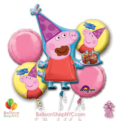 Peppa Pig Mylar Balloon Bouquet Inflated high-quality cheap balloons nyc delivery