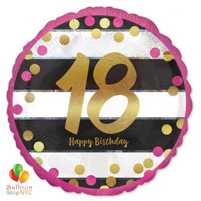 18th Milestone Happy Birthday Pink & Gold Mylar Balloon 18 Inch Inflated high-quality cheap balloons nyc delivery