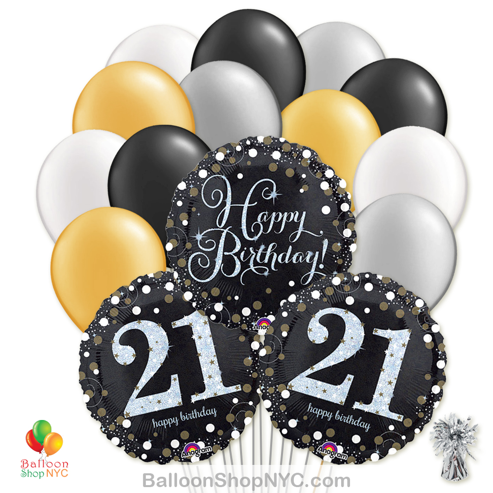 21st Sparkling Happy Birthday Mylar Latex Pearl Balloon Bouquet Inflated High Quality Cheap Balloons Nyc