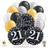 21st Sparkling Happy Birthday Mylar Latex Pearl Balloon Bouquet Inflated