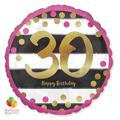 30th Milestone Happy Birthday Pink & Gold Mylar Balloon 18 Inch Inflated high-quality cheap balloons nyc delivery