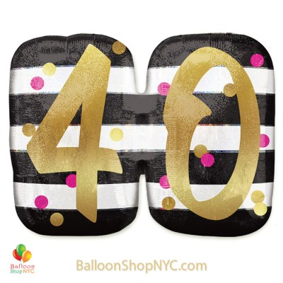 40th Milestone Happy Birthday Pink Gold Mylar Balloon 36 Inch Helium Inflated high-quality cheap balloons nyc delivery
