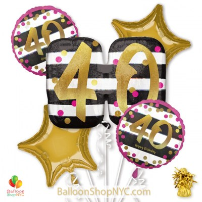 40th Milestone Happy Birthday Pink Gold Mylar Balloon Bouquet Helium Inflated high-quality cheap balloons nyc delivery