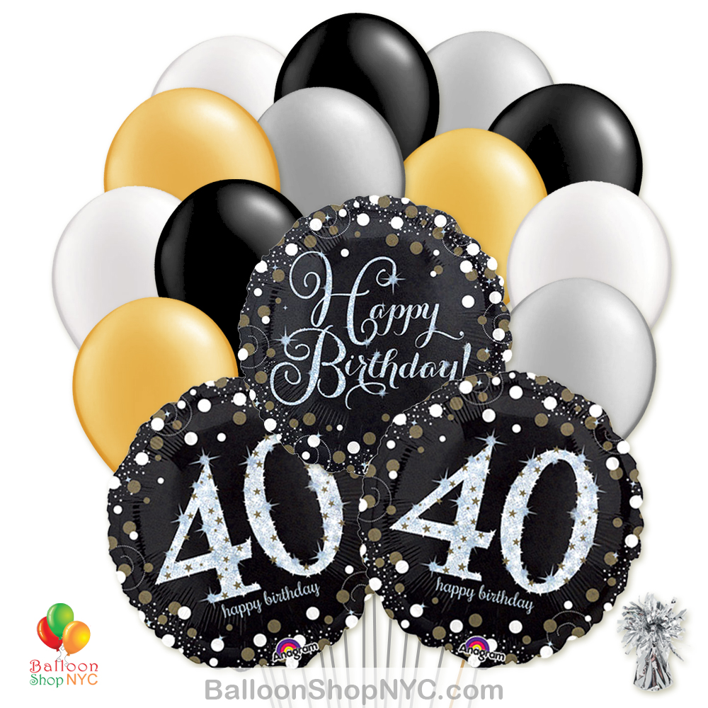 40th Sparkling Happy Birthday Mylar Latex Pearl Balloon Bouquet Inflated